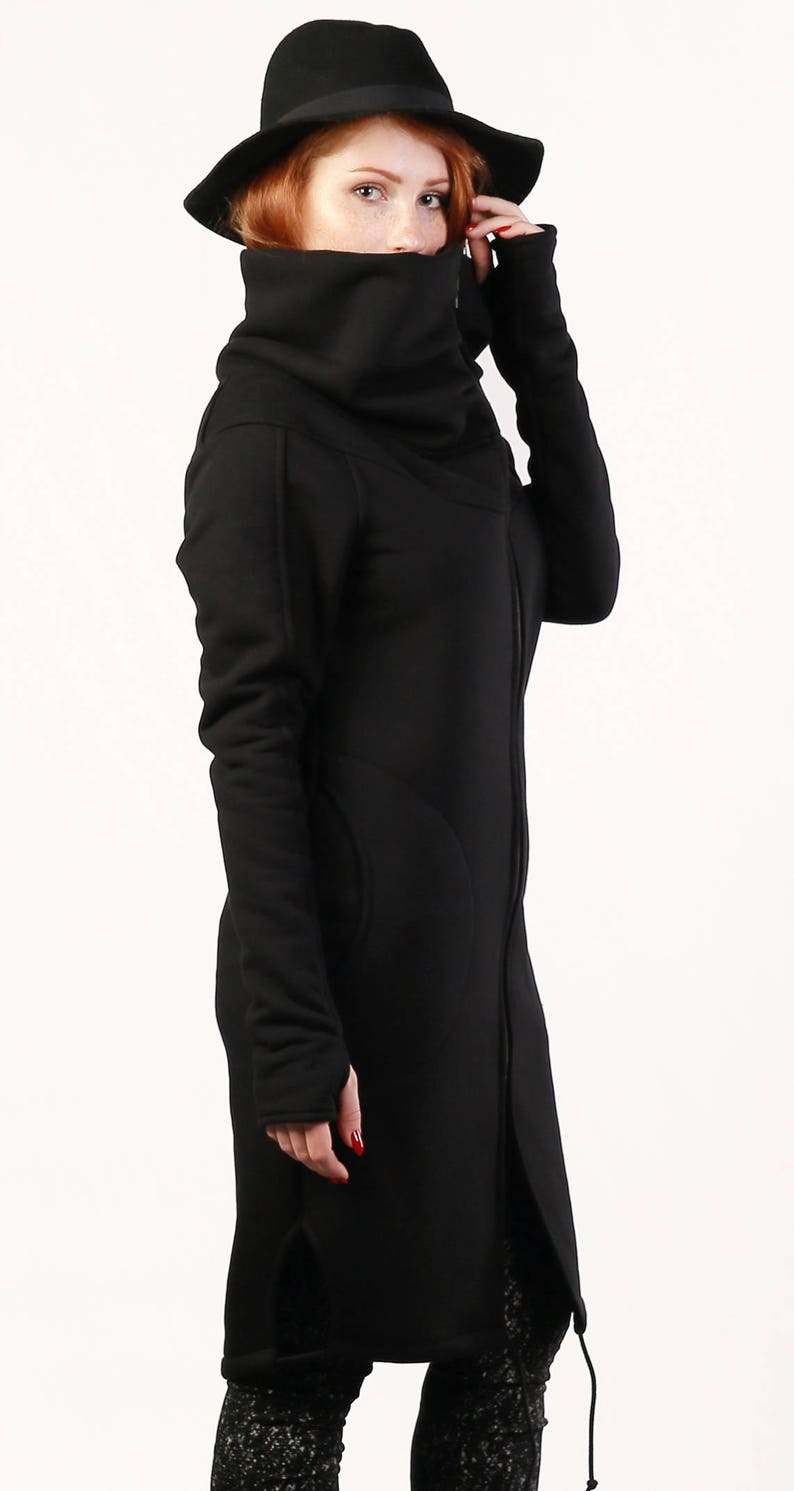 Coat Gothic Women/'s Sweatshirt,Jacket Front Zipper Black Sweatshirt Handmade,plus size Sweatshirt with Large Cowl Neck Collar