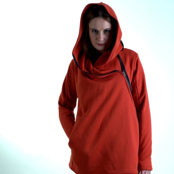 Sweatshirts Hoodie Asymmetrical Front Orange Handmade Zipper Hooded Coat Hoodie Navaho Warm Women's Hoodie Cotton Coat Clothing q1TTZg