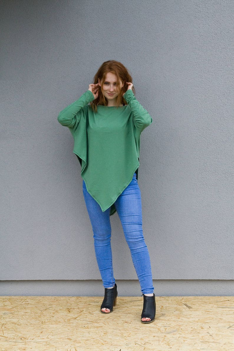 Plus Size Top Green Tunic Long Sleeve Tunic Summer Tunic Minimal Tunic Party Tunic Women Tunic Plus Size Clothing Asymmetrical Tunic