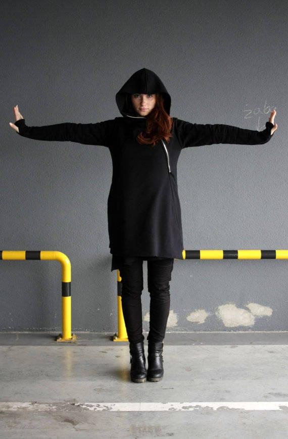 Black Clothing Asymmetrical Coat hood big Gothic Hoodie Coat Black Handmade Hooded Women's hoodid Hoodie Sweatshirt Hoodie Black wI7qOt