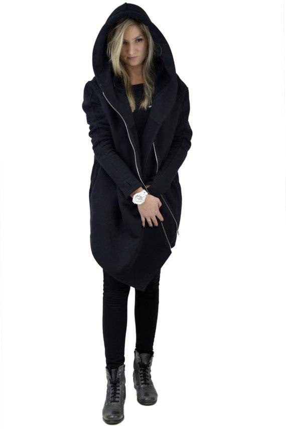 for Hoodie Coat Hooded Handmade Women's Women's gothic gift Coat Warm clothing Clothing sweatshirt her Hoodie Asymmetrical Aqx40aP