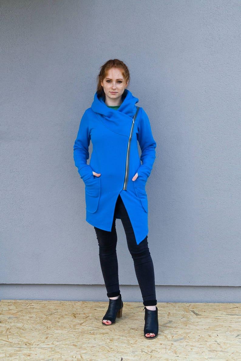 7efcdd00127 Coat Sweatshirt Hoodie Jacket Blue Cotton Coat Tunic | Etsy
