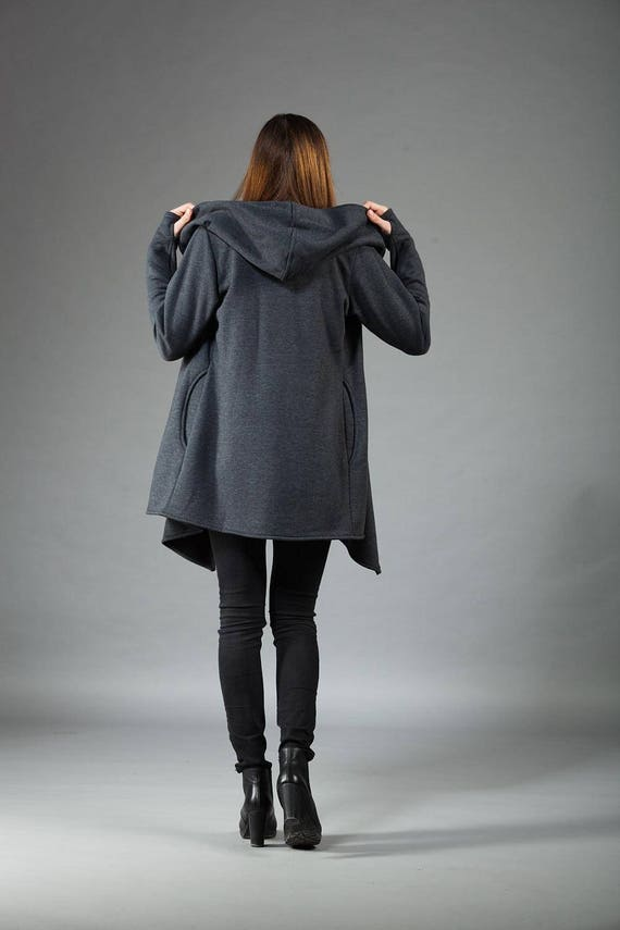 Navaho Hoodie Zipper Warm Navaho Handmade Coat Handmade Women's Gray Clothes Front Cotton Hoodie Coat Asymmetrical by Dark Hooded Hoodie x05UwEwqa