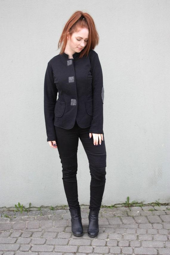 Black Black Jacket Women's Unusual for Clothing coat Navaho Hoodie Made Hand women's Cotton Hoodie Short Warm Sweatshirt Jacket rwCSrqH7