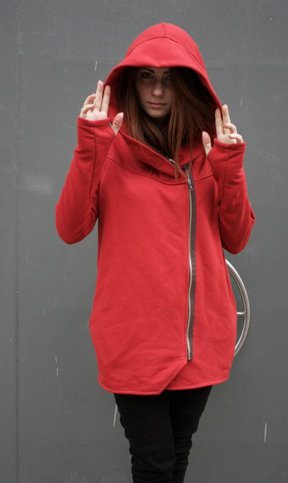 Navaho Front Hoodie Zipper Collection Cotton Red Hoodie Coat Clothing Coat Handmade Women's New Hooded Asymmetrical w6gSxqCn