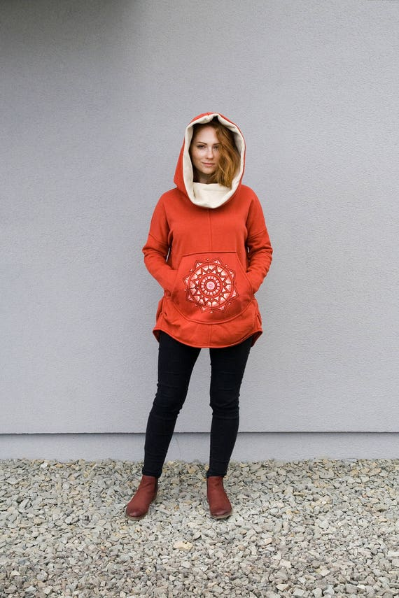 Hooded Orange Hand Clothing Hoodie Coat Hoodie Navaho Cotton Women's hoodie Colection Navaho by Handmade Coat New unique Painted P5HqSS