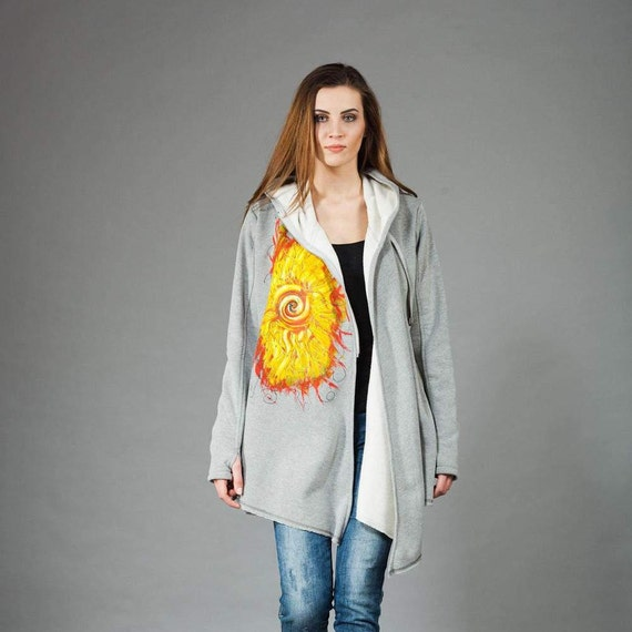 Handmade by Hoodie Coat Hooded Cotton Navaho Hoodie Gothic Asymmetrical Women's Hand Coat Zipper navahoclothing Painted q7wpFaUxP