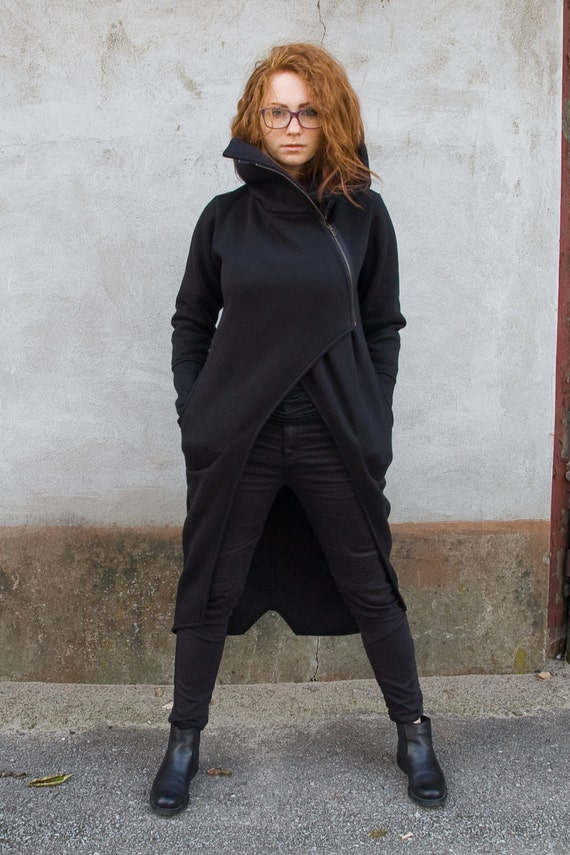 High Cotton Women's Warm Hoodie Turtleneck Sweater Asymmetrical Coat Black for Navahoclothing Women's Handmade Zipper pqCw0pd