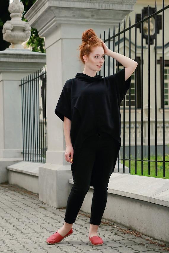 Plus Tunic Black Oversized Tunic Size Cotton Black Tunic Dress Clothing Black loose Black Womens tunic Dress Trendy Size Tunic Plus 4r7na48P