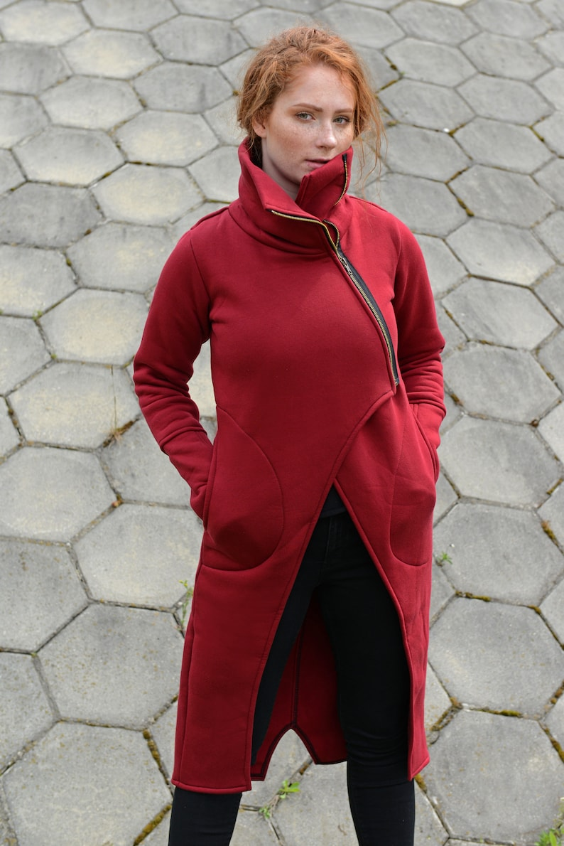 Plus Size Clothing Women Long Jacket Red Women Coat Asymmetrical Coat Turtleneck Coat Extravagant Clothes Zipper Coat Cotton Coat