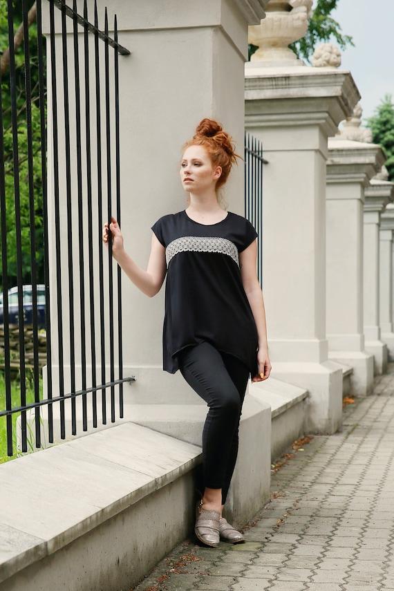 Long shirt top blouse size top top clothing Boho Tank shirt Women Black Plus Top shirt top Black shirt Maxi Boho Asymmetric sexy xnZ7pXF
