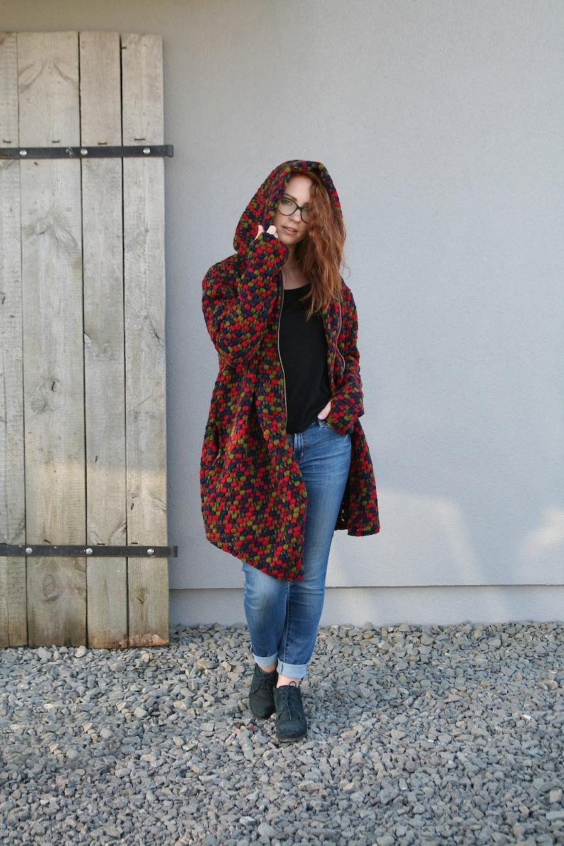 Winter Coat Women Cloak Loose Coat Oversize Wool Coat Hooded Coat For Women Plus Size Clothing Sweatshirt Hoodie Coat Zipper Coat