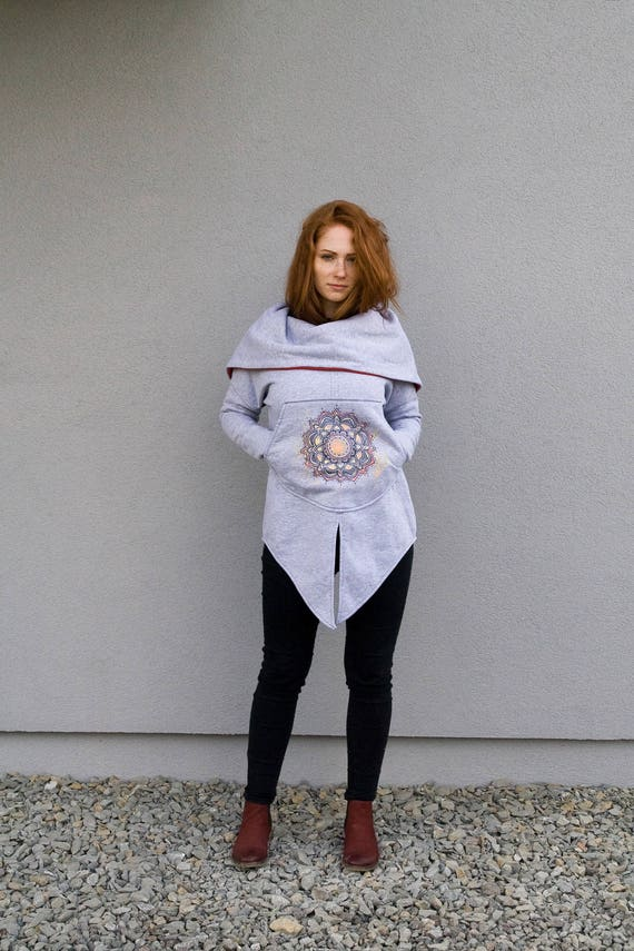Painted Women's Coat Navaho Handmade Cotton by Colection Hoodie New Clothing Coat Gray Unique Hooded Hand hoodie Hoodie Navaho WqnXTffB7E