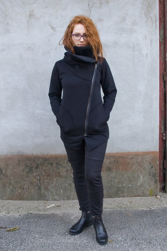 Sweatshirt Collar Neck Front Cowl with Zipper Navaho Clothing Women's Black Large Asymmetrical Coat Sweatshirt with Sweatshirt Sweatshirt AdBqfx6wCf