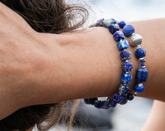 Handmade Lapis Lazuli Bracelet with Thai Hill Tribe Silver Beads and Clasp - Blue Gemstone - Gemstone jewellery -  Beaded Gemstone Bracelet
