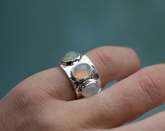 Gorgeous Triple Ethiopian Opal Ring set in Beaten Sterling Silver - Opal Jewellery - Unique Gemstone Ring