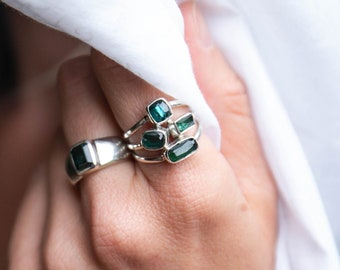 Lovely High Quality Multi Dark Green Tourmaline Ring set in Sterling Silver - Size 9 US - Gemstone Jewelry - Statement
