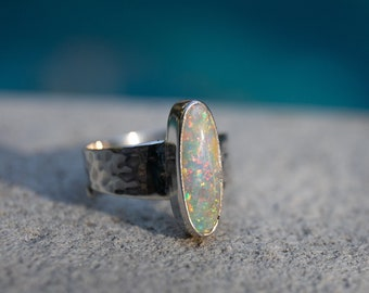 Genuine Australian Pipe Wood Fossil Opal Beaten Sterling Silver Adjustable Style Band  - Gemstone Jewellery - Opal Jewellery