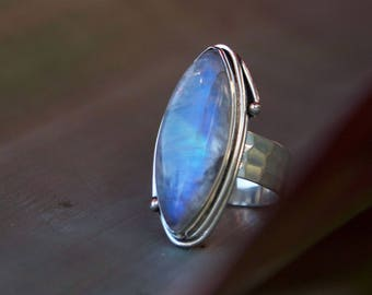 Rainbow Moonstone Ring in Unique Sterling Silver Setting with Beaten Band - Size 9 - Moonstone Jewelry - Rainbow Moonstone Ring