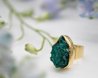 rose cut round dioptase quartz gemstone 925 sterling silver ring  yellow gold rose gold filled birthstone jewelry green dioptase ring