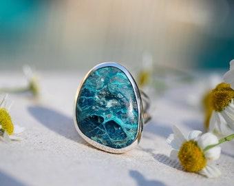 Gorgeous Statement Shattuckite Ring set in Split Sterling Silver Setting - Size 9 US - Shattuckite Jewelry - Gemstone Ring