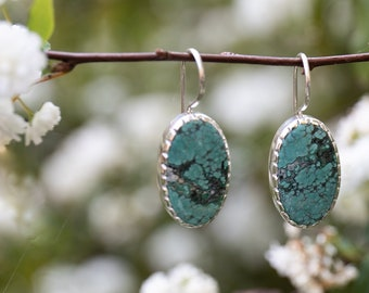 Stunning Genuine Turquoise Earrings set in Unique Sterling Silver - Green Turquoise Earrings - Gemstone Jewellery - Turquoise Jewellery
