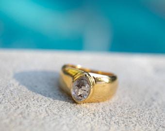 Herkimer Diamond Signet Ring set in 14k Gold Plated Sterling Silver - Size 7 US - Gold Herkimer Jewellery - Herkimer Quartz Rig