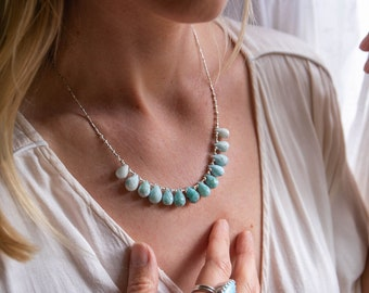 Absolutely Stunning Teardrop Faceted Larimar Briolette Necklace with Thai Hill Tribe Silver Beads and Clasp - Dolphin Stone Necklace -