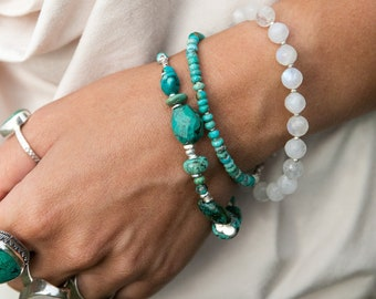 Handmade Beaded Turquoise Bracelet with Thai Hill Tribe Silver Beads - Gemstone Jewelry - Turquoise Jewellery