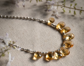 Handmade Beaded Faceted Briolette Citrine Necklace with Thai Hill Tribe Silver -   Gemstone Necklace - Citrine Jewellery
