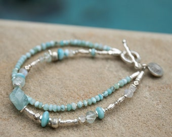 Aquamarine and Rainbow Moonstone Earrings with Thai Hill Tribe Silver
