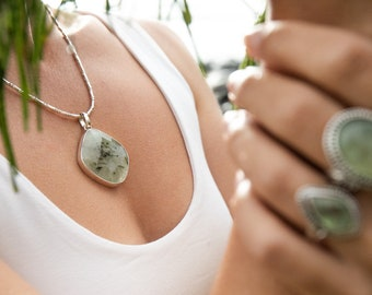 Statement Faceted Prehnite Pendant in Sterling Silver Setting - Gemstone Jewellery - Gemstone Jewellery - Prehnite and Silver Pendant