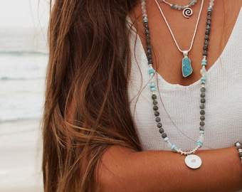 Labradorite, Larimar, Rainbow Moonstone + Thai Hill Tribe Silver Mala Necklace with Lotus Pendant - Long High Quality Gemstone Mala Necklace