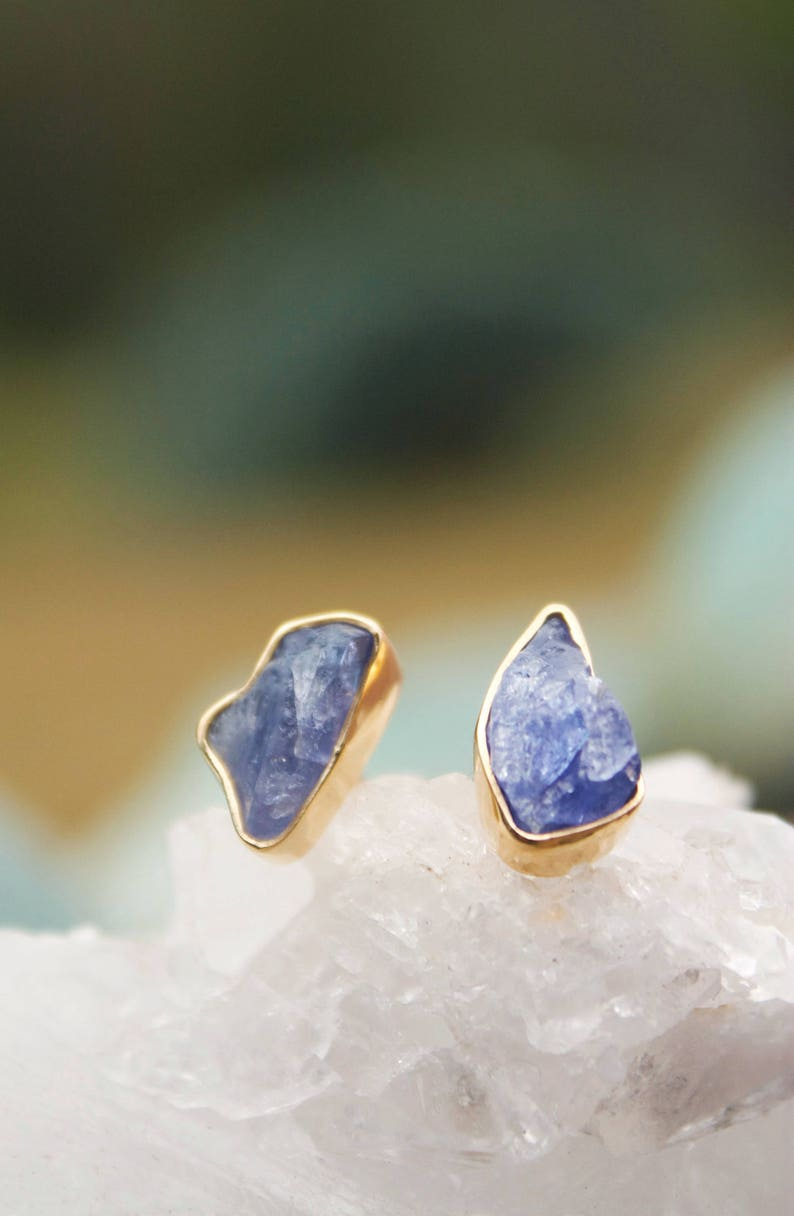 5145da78b Natural Raw Tanzanite Stud Earrings set in Gold Plated | Etsy