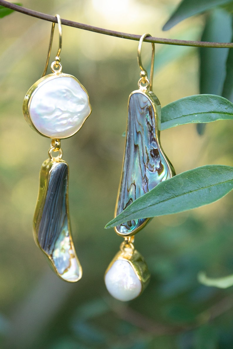 Pearl Jewellery Gemstone Jewelry Statement Asymmetrical Freshwater Pearl and Paua Shell Earrings in Gold Plated Sterling Silver