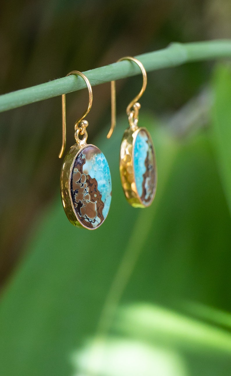 Turquoise Earrings Gemstone Jewellery Turquoise Jewellery Stunning Genuine Turquoise Earrings set in Beaten Gold Plated Sterling Silver