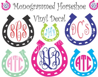 Monogrammed Horseshoe Vinyl Decal / Personalized Vinyl Sticker / Computer Decal / Wall Vinyl / Car Decal / Phone Monogram Decal / Sticker