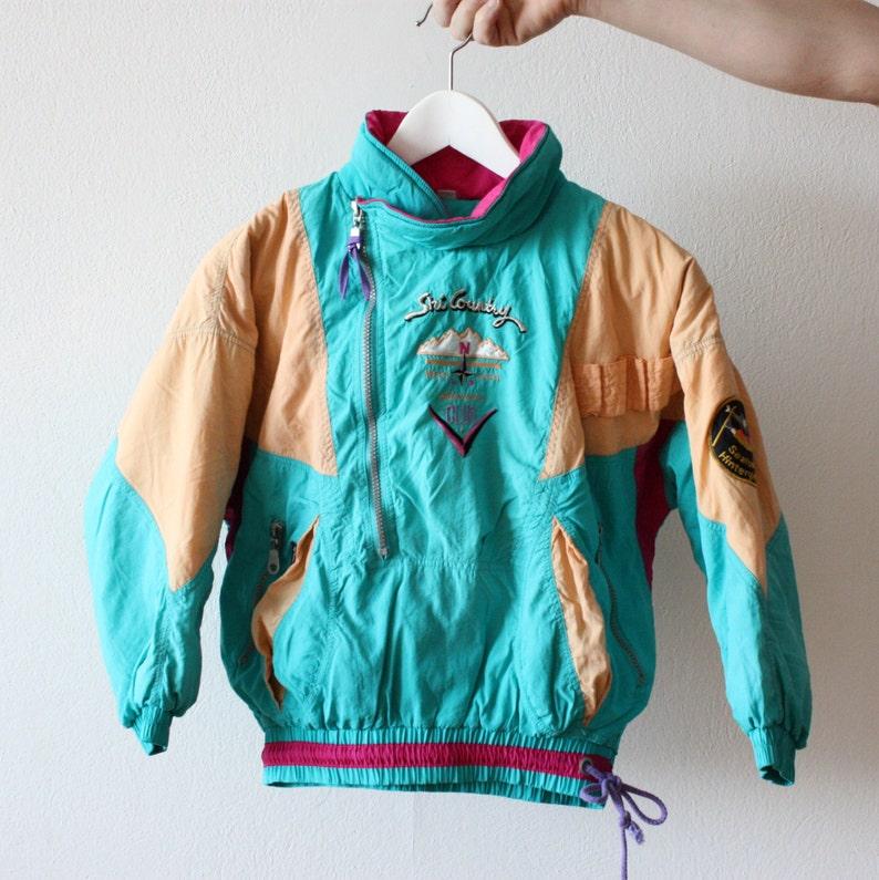 0f539b281ef29 Vintage 80s KIDS JACKET Sport Retro Turquoise Pink Yellow