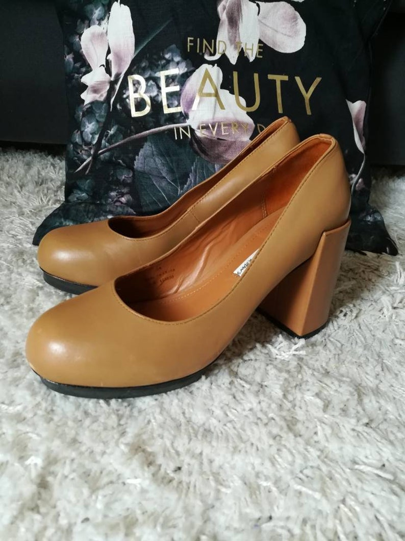 3f68ef6c37c11 SHOES HEELS LEATHER Pumps Pure Leather Caramel Brown Soft Comfortable Wide  Heel Womens Everyday All Day Heels & other Stories brand Size 38