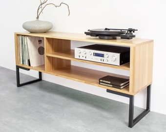 """Large Oak TV Stand Or Record Player Stand, Vinyl storage, Solid premium Oak on Minimalist Square Legs. """"Asymmetric Media Stand"""""""