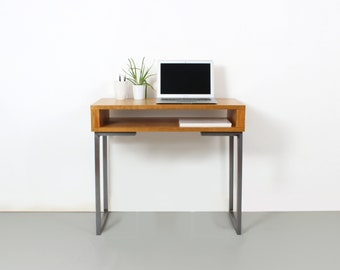 small writing table. Small Writing Desk Or Narrow Hall Table, Dressing Sideboard, With Storage Shelf, Solid Wood On Minimalist Square Steel Legs Table R