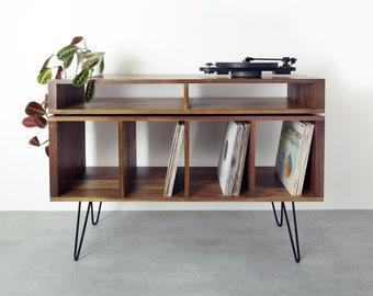 "premium Vinyl Storage Record Player Stand, Solid Walnut On midcentury Hairpin Legs. ""Kelston Walnut"""