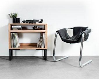 """Solid premium Oak Record Player Stand with Vinyl storage on Square Frame Legs, """"Low Stack Minimalist Record Player Stand"""""""