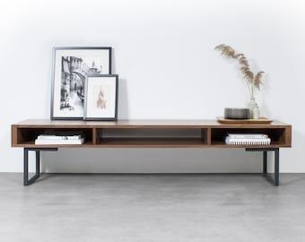 "Extra Wide premium Solid Walnut TV Stand Or Coffee Table. Minimalist Low Design on Square frame Legs.  ""Marston Minimalist Walnut"""