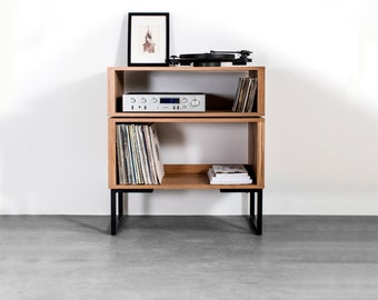 "Tall European Oak Record Player Stand, Premium Solid Wood Vinyl Storage on Minimalist Square Legs ""Tall Oak Stack Record Player Stand"""