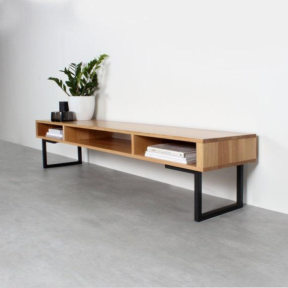 Superb Extra Wide Solid Oak Tv Stand Or Coffee Table Minimalist Low Design On Square Legs Marston Minimalist Creativecarmelina Interior Chair Design Creativecarmelinacom