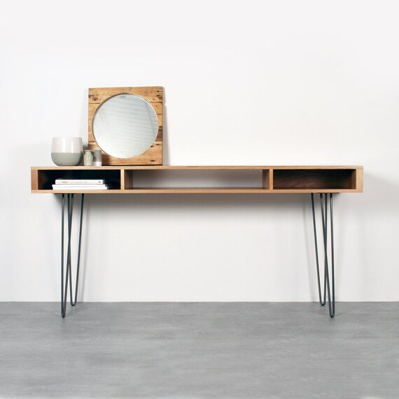the best attitude 7d777 aa5fd Extra Wide Console Table. Minimalist Solid Oak on Mid Century Hairpin Legs.