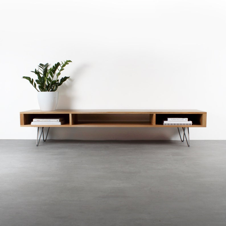 Mid Century Wide Tv Stand Or Coffee Table Minimalist Solid Etsy
