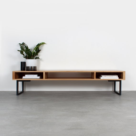 the best attitude c0701 3c251 Extra Wide Solid Oak TV Stand Or Coffee Table. Minimalist Low Design on  Square Legs.