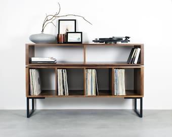"Large Solid Walnut Vinyl Storage DJ Turntable Stand, Minimalist Style, on square frame legs ""Technic Turntable Stand"""